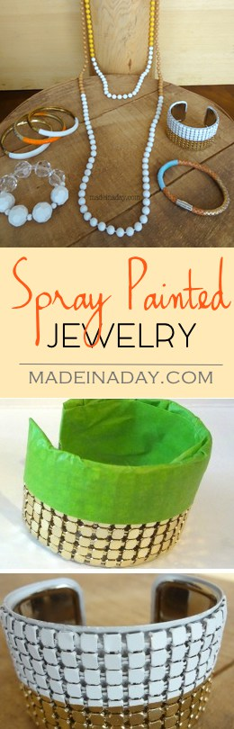 Spray Painted Jewelry Up-do, Tape off and paint your old jewelry to create something new!
