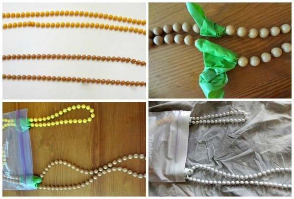 Spray painted wood bead necklace
