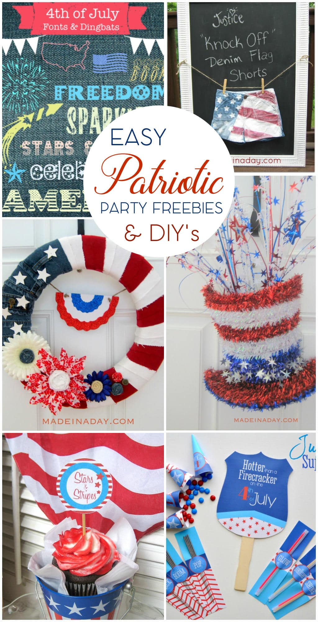 Easy Patriotic Crafts & Party Printables, Denim wreath, patriotic fonts, Flag Shorts tutorial, Sparle Hat Door Hanger, 4th of July Party supplies: Hand fan printable, cupcake toppers, sparkler holders, glow stick holders, candy cone holders and more on madeinaday.com