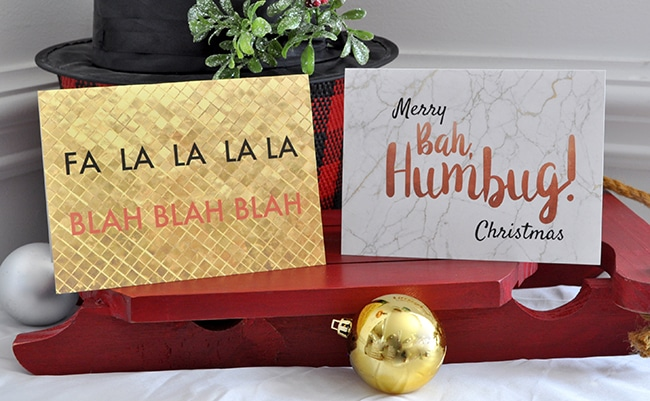Fa la la la la Blah blah blah Printable Holiday greeting card, Bah Humbug printable Christmas card