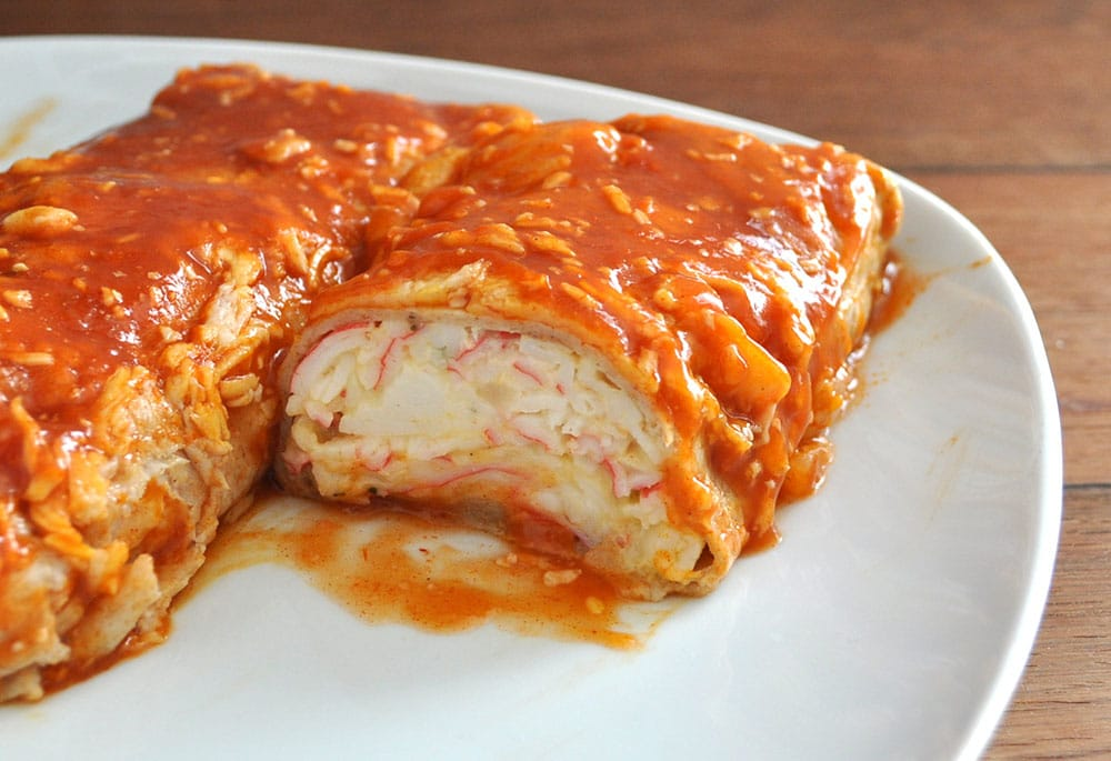 Seafood Enchiladas with Imitation Crab, crab burrito recipe, Recipes with imitation crab