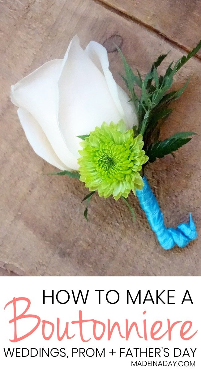 How to Make a Simple Boutonniere using real flowers and silk. Learn the professional way