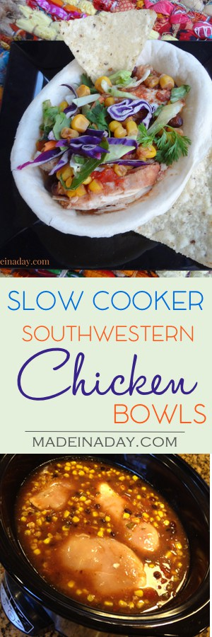 Slow Cooker Southwest #Chicken #Bowls , Super easy recipe just add ingredients and cook for four hours. Great for nachos, taco bowls, #streettacos or just to dip! Cilantro, corn, back beans, cabbage mix recipe on madeinaday.com #slowcooker