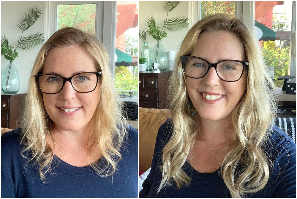 Before and after bio hair to hair topper, wearing a hair topper,