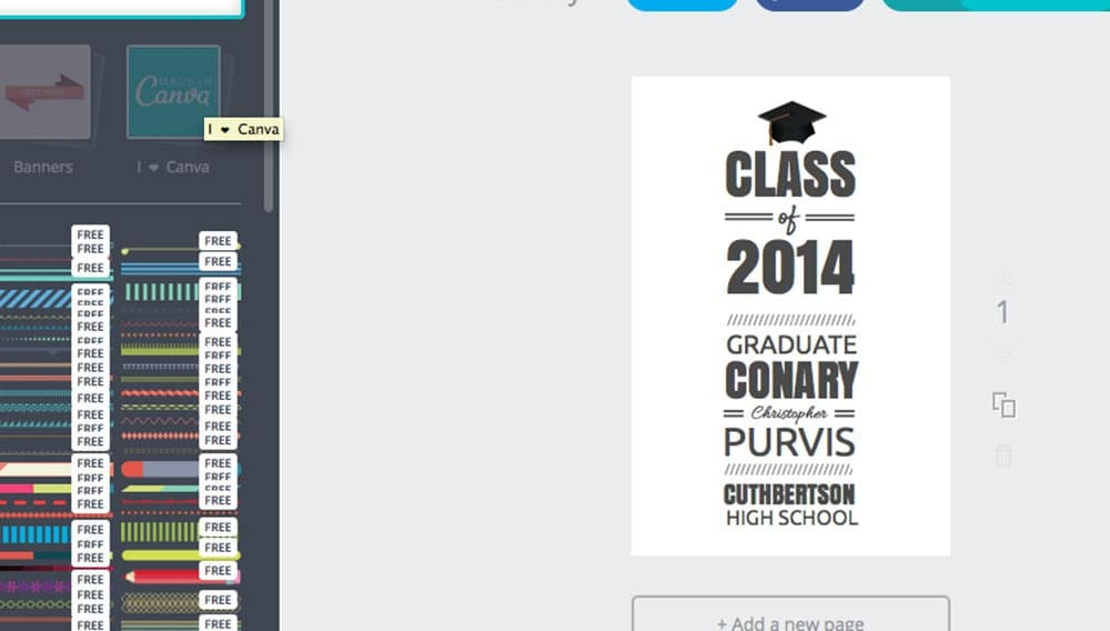 us canva to make graduation annoucements