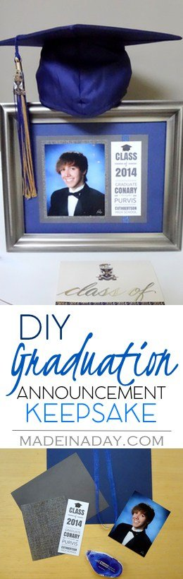 DIY Graduation Announcement Keepsake, make an easy keepsake to display or give out to family members, collage grads, high school grad, see the tutorial on madeinaday.com