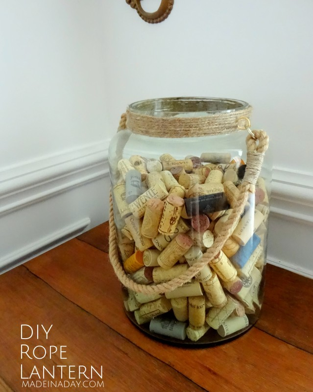 DIY Rope Lantern vase wine cork