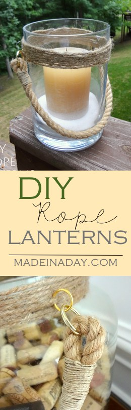 DIY Rope Lantern Vases, Transform ordinary vases into trendy rope trimmed lanterns. Easy DIY!