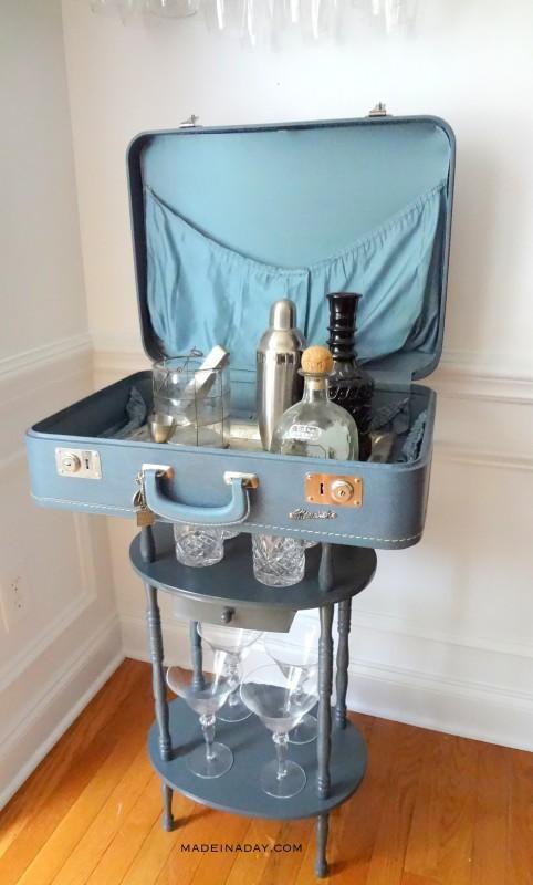 DIY Vintage Suitcase Bar Table Tutorial madeinaday.com