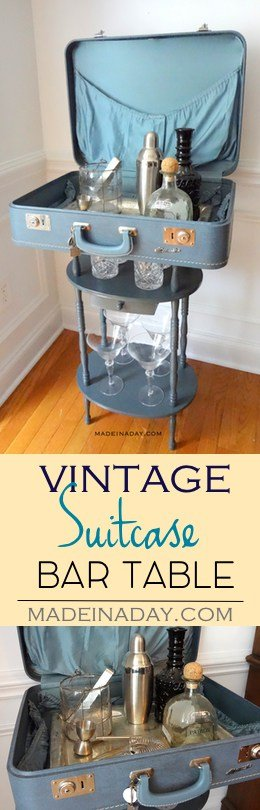 #Vintage #Suitcase Table #Bar, Make a cool conversation piece using an old vintage Monarch Suitcase and a simple table and turn it into a bar! Tutorial on madeinaday.com
