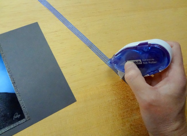 Glue ribbon to cardstock