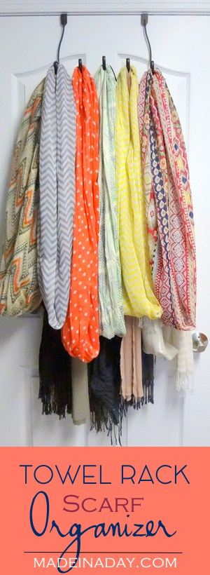 Easy, Fun & Clever Organization Ideas! Three clever ideas to organize your scarves, Jewelry & Kids cups! Scarf organizer, sport cup organizer, necklace organizing.