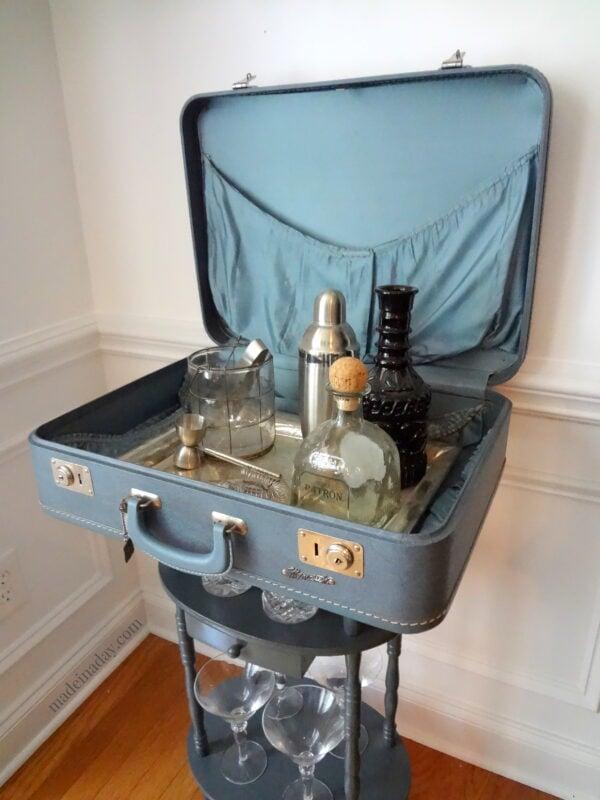 Vintage Monarch Suitcase bar table