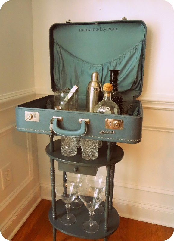 Suitcase table bar craft - Repurposing old suitcasescreative ideas ...