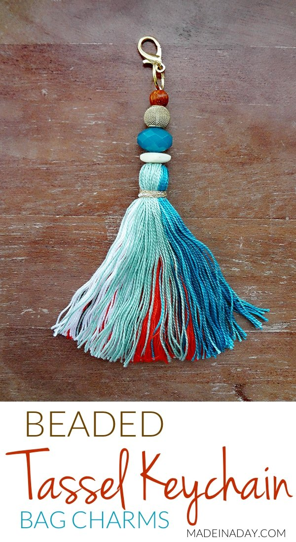 How to make large #tassel key chain to hang on your purse, keys or home decor. Anthro hack easy craft, key #fob, large tassel, teal tassel, bag charm, embroidery thread tassel, #bagcharm