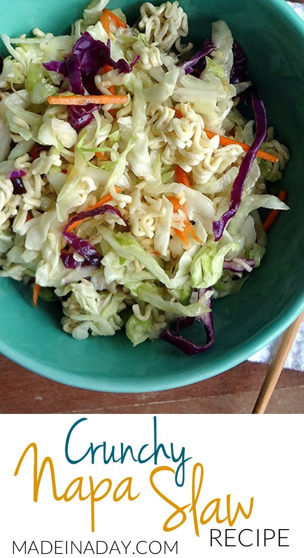 Napa Cabbage Slaw w/Crunchy Ramen, #Asian #Slaw #Recipe, Toasted #Ramen noodles, Napa cabbage, sweet soy dressing, napa cabbage recipes