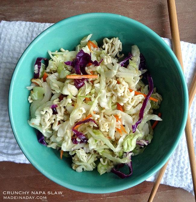 Napa Cabbage Slaw w/Crunchy Ramen, #Asian #Slaw #Recipe, Toasted #Ramen noodles, Napa cabbage, soy dressing, napa cabbage recipes
