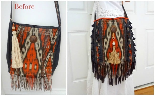 DIY Bohemain Fringe Tassel Purse madeinaday.com