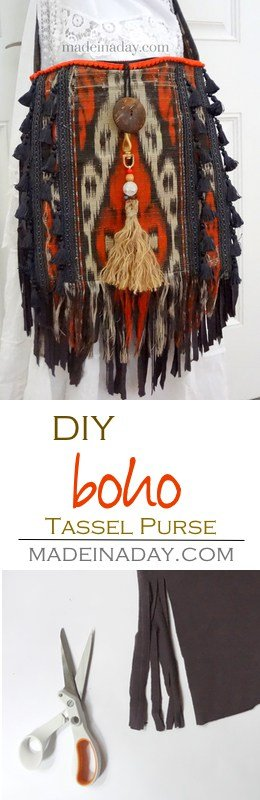 Update a simple purse into a fabulous Fringe and Tassel Boho satchel! Adding jersey knit fringe and upholstery tassels for a trendy upgrade. Bohemian satchel, tutorial on madeinaday.com
