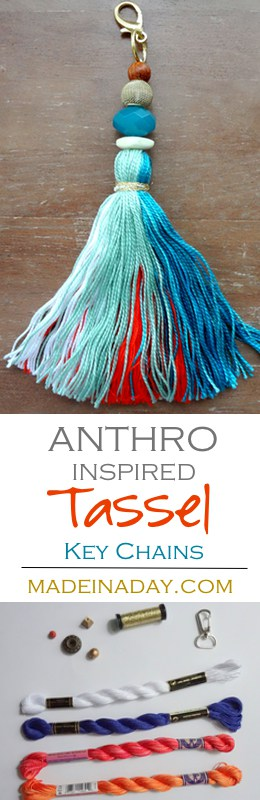 How to make large tassel key chains to hang on your purse, keys or home decor. Anthro hack easy craft, key fob, large tassel, teal tassel, embroidery thread tassel