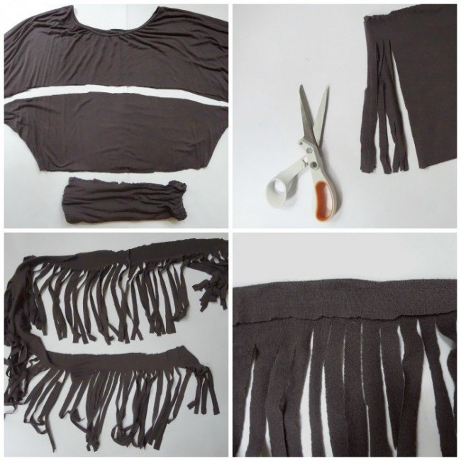 DIY T-shirt Fringe trim Jersy knit
