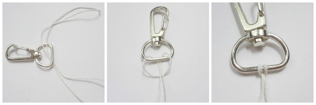 Tie Hemp cord to clip keychain