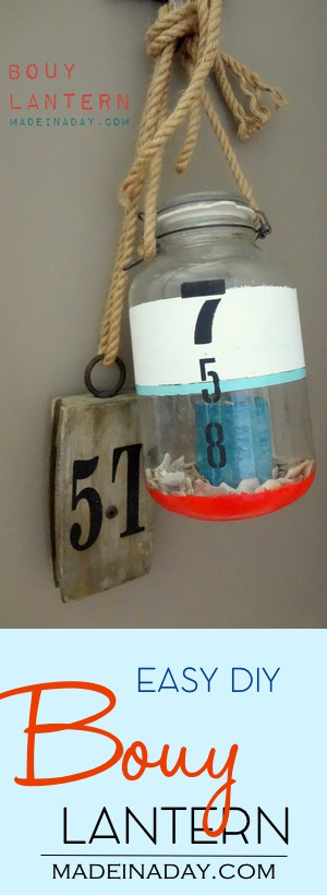 DIY Bouy Lantern, Paint a large vintage jar to simulate a seaside bouy for nautical decor! #sponsored