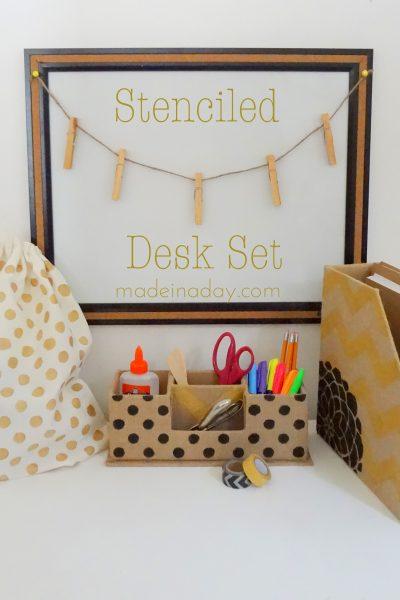 Stenciled Desk Set and Gym Bag