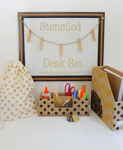 Stenciled Desk Set and Gym Bag 31