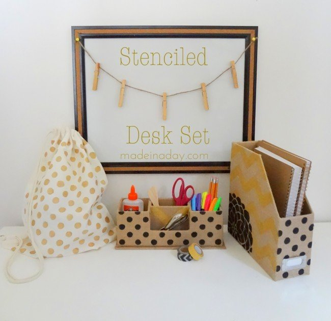 Stenciled desk set tutorial, polka dot dest set, polka dot gym bag