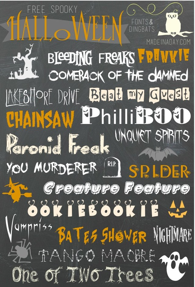Free Halloween Fonts Dingbats • Made in a Day