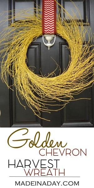 Easy Golden Harvest Wispy Wreath, Spray paint & glitter up a wispy wreath for fall, chevron, DIY Tutorial, yellow painted wispy wreath, fall wreath, Harvest Wreath, easy crafts, canvas cut edge ribbon, red chevron, red fall burlap ribbon, spray paint, glitter