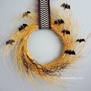 Golden Halloween Bat Chevron Wreath