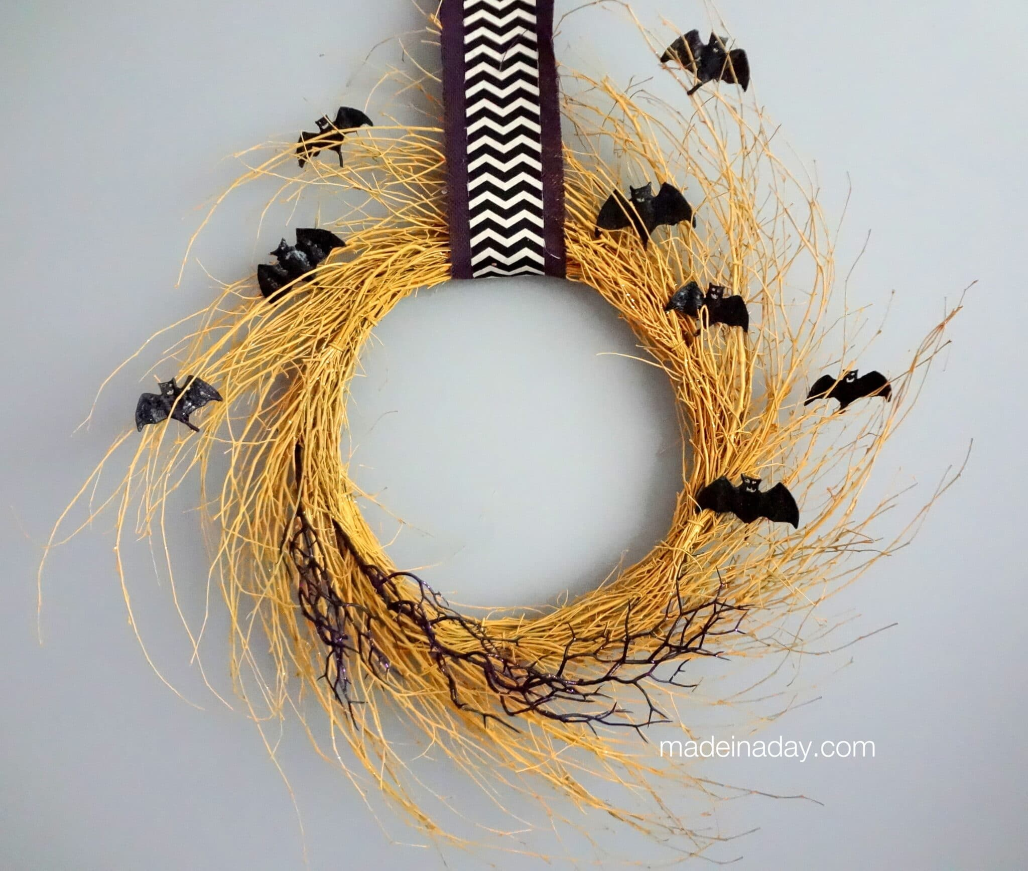Golden Halloween Bat Chevron Wreath