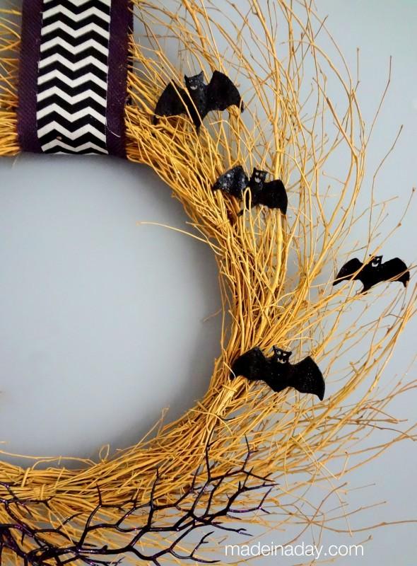 Golden Harvest Bat Wreath