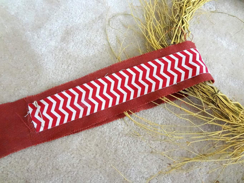 Loop the ribbon around wreath