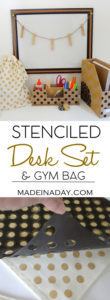 Stenciled Desk Set and Gym Bag 1