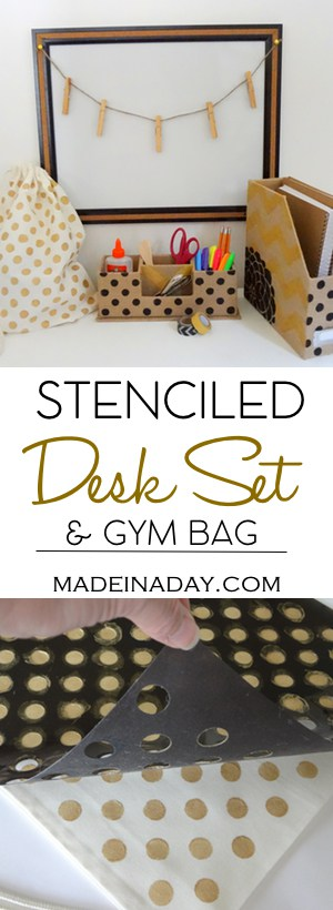 Stenciled Desk Set and Gym Bag with Fabric Paint! Use stencils and fabric paint on a Burlap desk set and canvas gym bag for a one of a kind set for school! Tutorial on madeinaday.com #sponsored