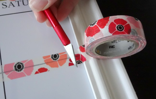 Trim Washi Tape with X-acto Knife