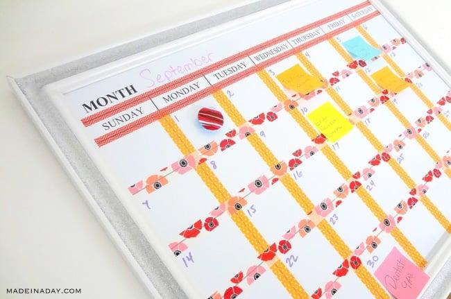 Washi Tape Dry Erase Calendar 2