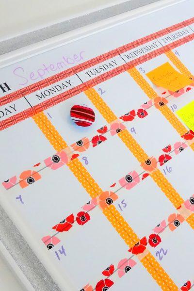 Washi Tape Dry Erase Calendar
