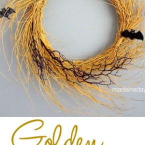 Creepy Bat Golden Halloween Wreath 29