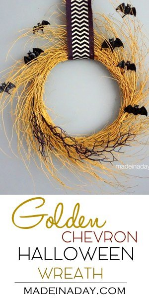 Simple Golden Halloween Bat Wreath, purple burlap and chevron ribbon, Halloween bat picks, Spray painted wispy wreath, gold glitter, easy craft,