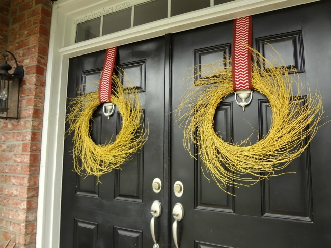 Painted Yellow Wispy Wreath for Autumn