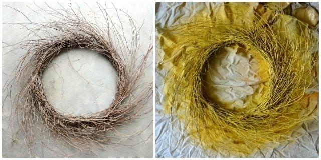 yellow painted wispy wreath