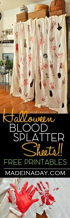 Blood Spatter Curtains & FREE Bloody Printable Banner 32