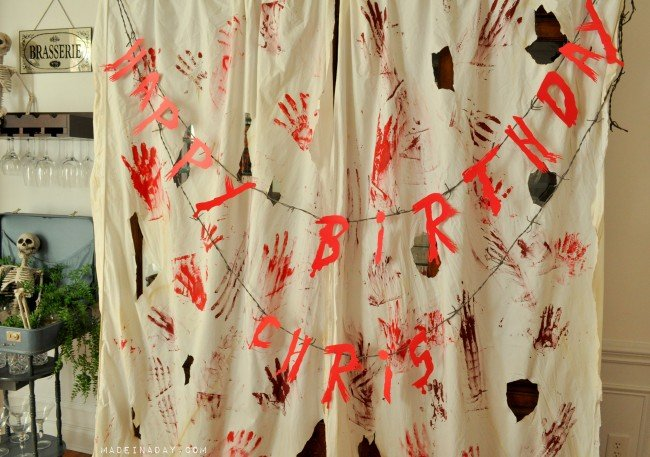 DIY Bloody Curtain FREE Printable Banner