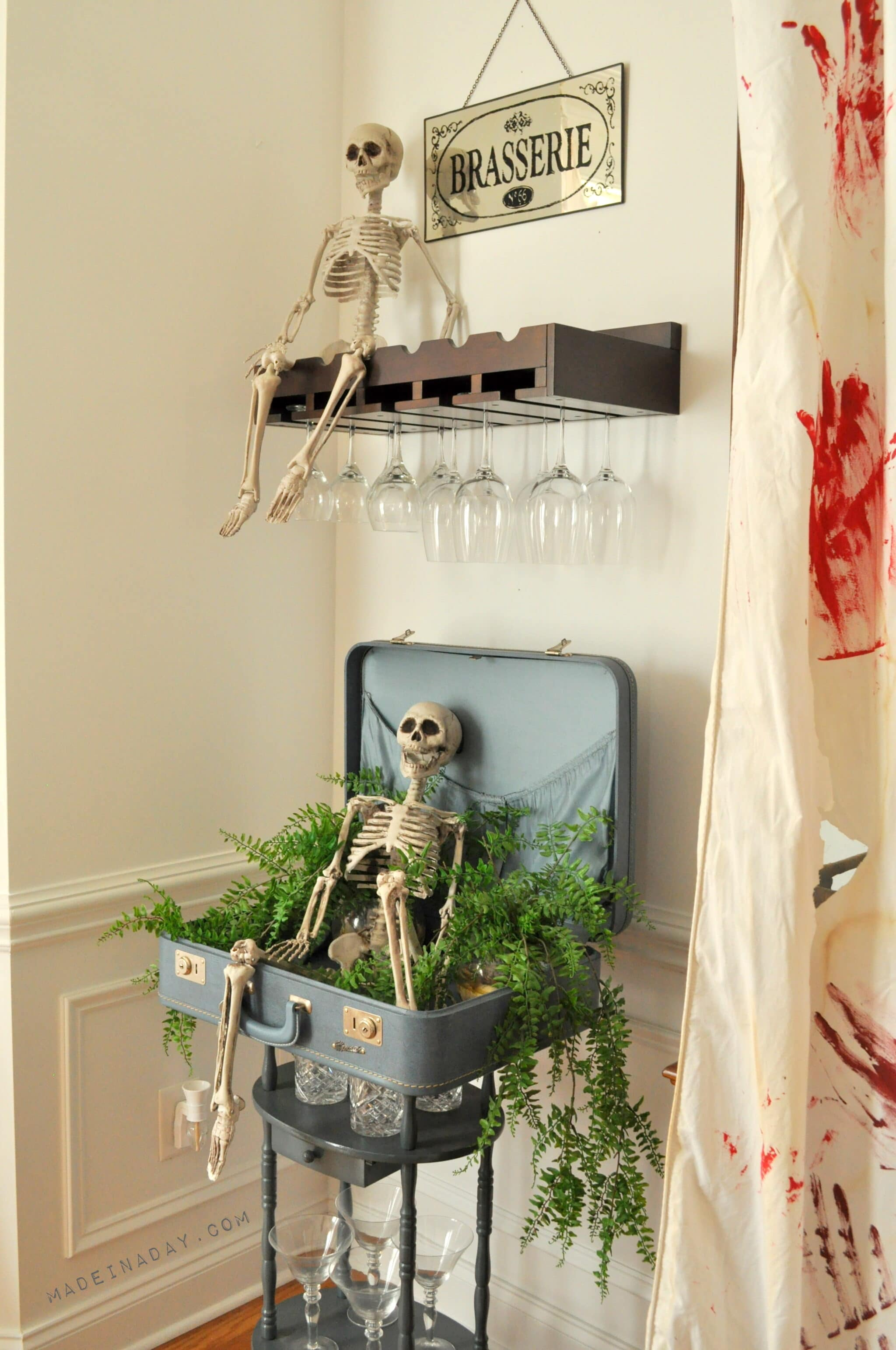 DIY Halloween Skeleton Bloody Drapes