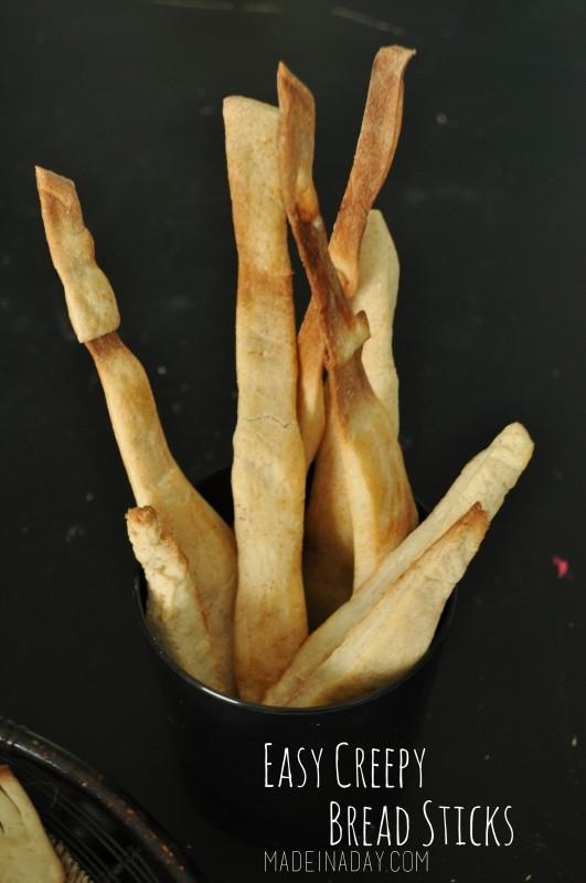 Easy Creepy Halloween Bread Sticks madeinaday.com