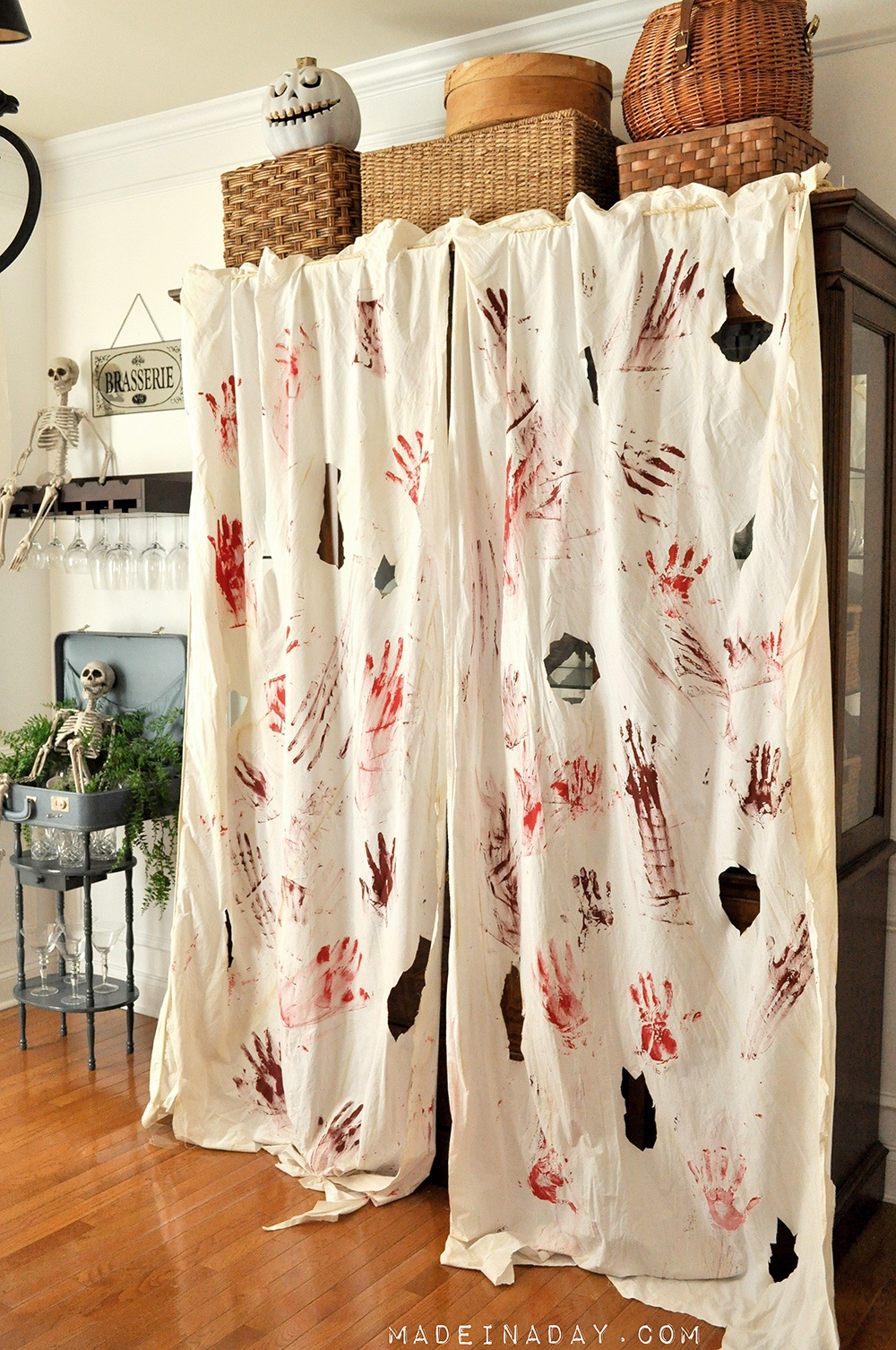 Easy DIY Bloody Curtains, halloween Bloody Drapes